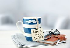 Father`s Day Concept Objects.Coffee Mug With Tag. Stock Photos