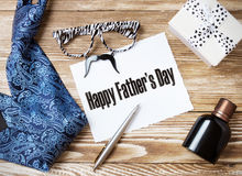 Father's day concept objects messege nobody. Stock Photography
