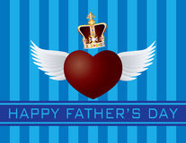 Father's Day with Crown and Flying Heart Vector Illustration. Happy Father's Day Text Flying Heart with Wings and Crown on Blue Stripes Pattern Background Vector Royalty Free Stock Photography