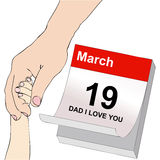 Father's Day, a Dad and a child holding hands Stock Photos