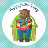 Father`s Day. Daddy Bear is reading a book to the cubs. Family greeting card Stock Photography