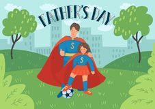 Father`s day. Father with daughter in superhero costumes play football in the park. Father`s day. Father with daughter in superhero costumes play football vector illustration