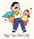 Father's Day Drawing with Children and Super Dad, Vector Illustration. Children draw for Father's Day with a super dad with moustache and cape with son and vector illustration