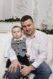 Father`s day, father family love son parent. Portrait of a loving father with his little son. Happy family. Father`s day royalty free stock photo