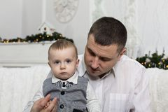 Father`s day, father family love son parent. Portrait of a loving father with his little son. Happy family. Father`s day stock photo