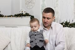 Father`s day, father family love son parent. Portrait of a loving father with his little son. Happy family. Father`s day stock photography