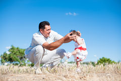 Father's day, father, daughter, man, girl, baby, walk, train, play, love Stock Image
