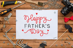 Father`s Day flat lay mock up template with hand drawn greeting and tools Stock Photography