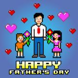 Father's day flowers celebration card - pixel layers vector. Illustration stock illustration