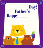 Father's day frame. Illustration of bear family and father's day Stock Illustration