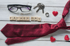 Father`s Day Gift and word `Father day`. On wooden floor - Ideas for Dad stock photo