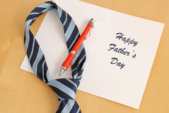 Father's Day Greeting. Card With Tie Royalty Free Stock Image