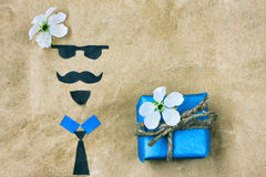 Father`s day, greeting card applique face and gift Stock Image
