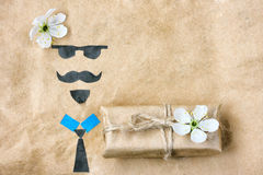 Father`s day, greeting card applique Stock Photos