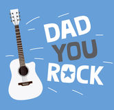 Father's day greeting card design with custom typography and guitar. Royalty Free Stock Photos