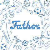 Father`s Day. Greeting card in doodle style. Royalty Free Stock Image