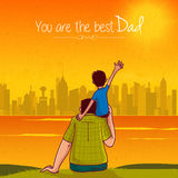 Fathers Day greeting card with son and father. Stock Photo