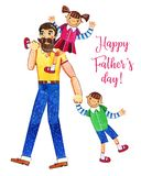 Father`s day hand drawn watercolor illustration with father walking and two kids. Girl sitting on shoulders, boy walking. Isolated on white background. For vector illustration