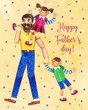 Father`s day hand drawn watercolor illustration with father walking and two kids. Girl sitting on shoulders, boy walking. On yellow dotted textured background vector illustration