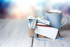 Father S Day Holiday Greeting Card Empty Space.Present Box Mug. Royalty Free Stock Image