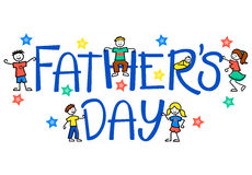 Father's Day Kids/eps. Father's day headline with children and stars Stock Photos