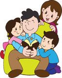 Father's day with love family. Father's day cartoon character with colors Stock Photography