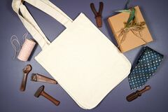 Father's Day or masculine birthday canvas tote bag flatlay mockup.
