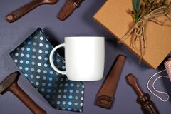 Father's Day or masculine birthday theme white coffee cup flatlay mockup.