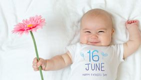 Father`s Day message with baby girl royalty free stock photo