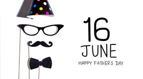 Father`s Day message with party sticks. Father`s Day message with glasses and moustache party sticks royalty free stock photo