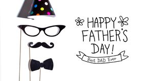 Father`s Day message with party sticks stock photo