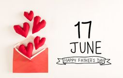 Father`s Day message with red heart cushions Royalty Free Stock Images