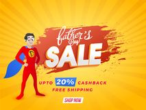 Father`s Day online sale banner design with a super father on ye. Llow rays background with 20% cashback offers stock illustration