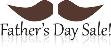 Father's Day Sale. Text with mustache Royalty Free Stock Images