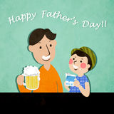 Father's Day. Father and son drink beer and milk to celebrate Father's Day Stock Image