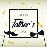 Father`s Day - template for card, banner, poster with gold confetti, frame, mustache and bow tie. Vector. Illustration Royalty Free Stock Photography