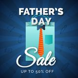 Father`s Day text with shopping back and Sale upto 50% off offer. Father`s Day text with shopping bag and Sale upto 50% off offer on blue rays background royalty free illustration