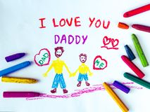 Father`s day theme with I LOVE YOU DADDY message. Kid drawing of father holding his child for happy father`s day theme with I LOVE YOU DADDY message stock image
