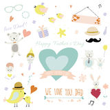 Father's Day vector set with style romantic and lovely print illustration with element and cute background for template of scrapbo Royalty Free Stock Images