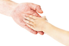 Father's hand. Father giving hand to a child; closeup Royalty Free Stock Photos