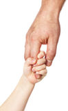 Father's hand. Father giving hand to a child; closeup Stock Images