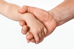 Father's hand. Father giving hand to a child; closeup Royalty Free Stock Photography
