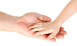 Father`s hand holding child hand isolated. Over white Royalty Free Stock Image