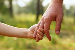 Father`s hand lead his child son in summer forest nature outdoor. Trust family concept royalty free stock photos