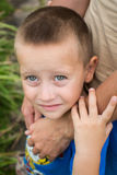 Father's hand lead his child son in summer forest nature outdoor Stock Photos
