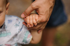 Father's hand lead his child son in summer forest nature outdoor,. Trust family concept stock photo
