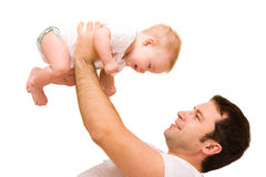 Father's love. Cute baby with father Stock Photos