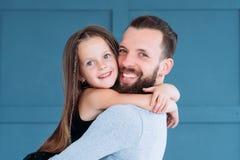 Father love girl family bond relationship hug. Father`s love. daddy`s little girl. family bond and loving relationship. men and his daughter hugging stock photo