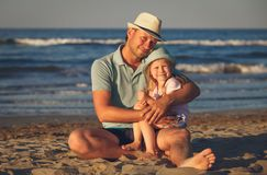 Father`s love. Father hugging his daughter. stock images