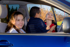 Father Sends Daughter Off To Cheerleader Practice Royalty Free Stock Photo